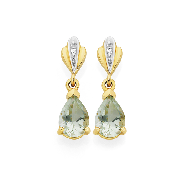 9ct Gold Green Amethyst with Diamond Accents Earrings