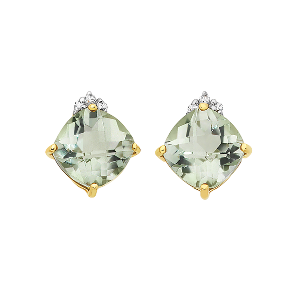 9ct Gold Green Amethyst with Diamonds Stud Earrings