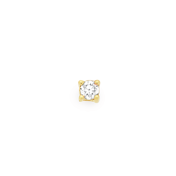 9ct Gold Guys Single 0.05ct Total Diamond Weight Stud Earring