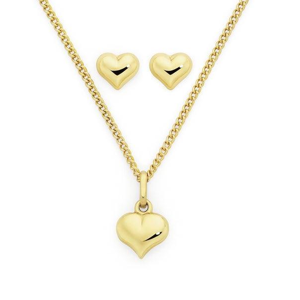 9ct Gold Heart Pendant and Stud Earrings Set