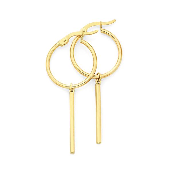 9ct Gold Hoop & Bar Drop Earrings
