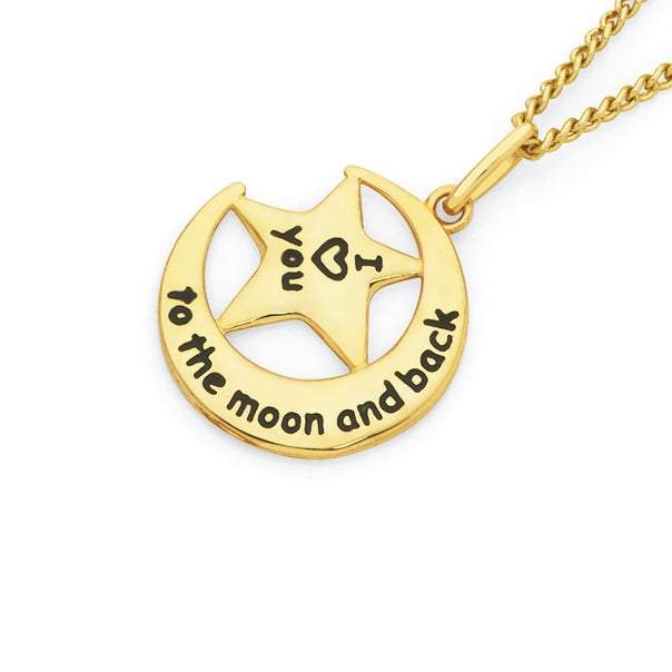 9ct Gold 'I Love You to the Moon & Back' Message Pendant