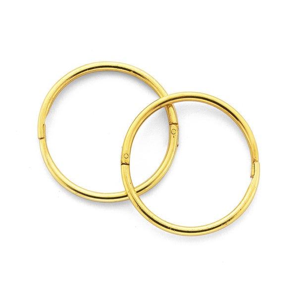 9ct Gold Large Plain Sleepers