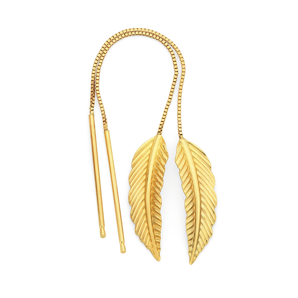9ct Gold Leaf Thread Through Earrings