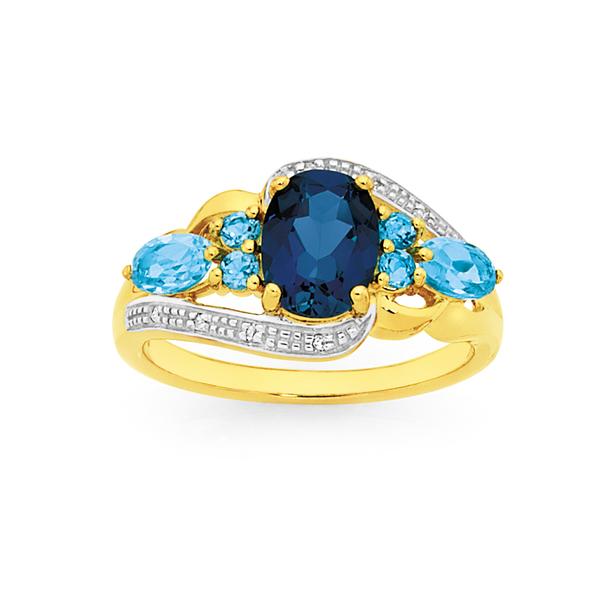 9ct Gold London Blue & Blue Topaz Multi Swirl Ring