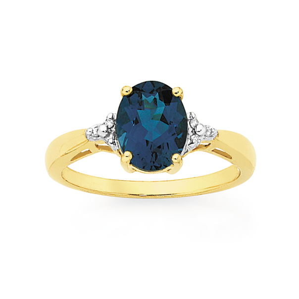 9ct Gold London Blue Topaz Oval Ring