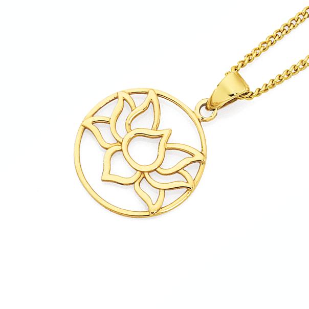 9ct Gold Lotus Flower Circle Pendant