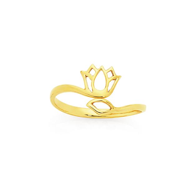 9ct Gold Lotus Flower Wrap Toe Ring