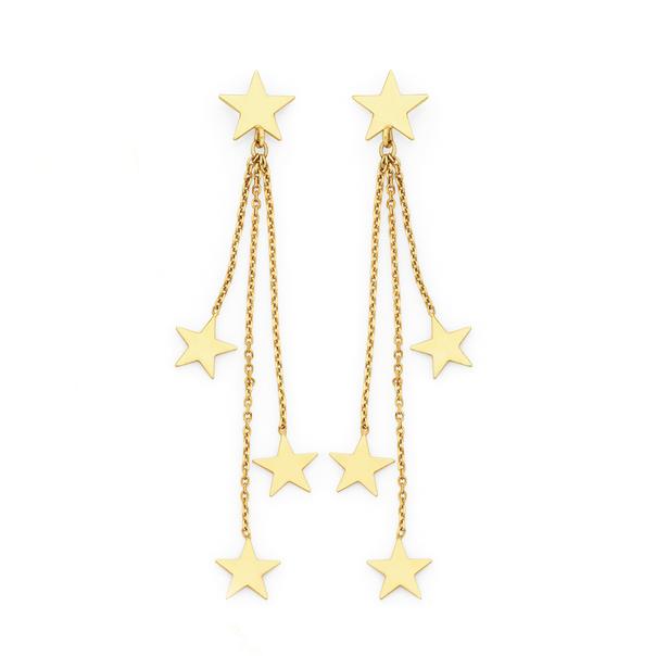 9ct Gold Multi-Star Stud Drop Earrings