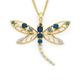 9ct Gold Multi Topaz Open Dragonfly Pendant