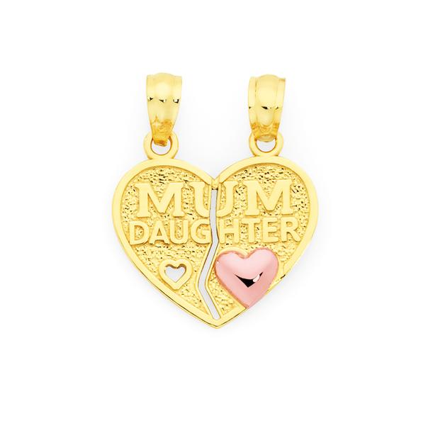 9ct Gold Mum & Daughter Break Pendant