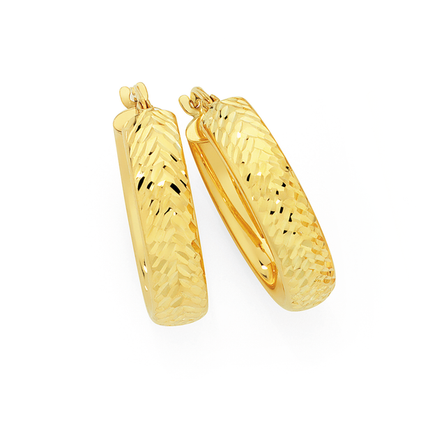 9ct Gold on Silver 15mm Diamond-Cut Hoops