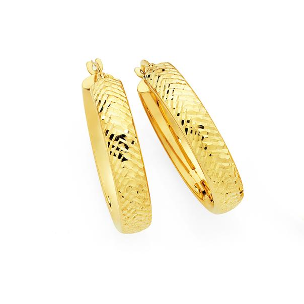 9ct Gold on Silver 20mm Diamond -Cut Hoop Earrings