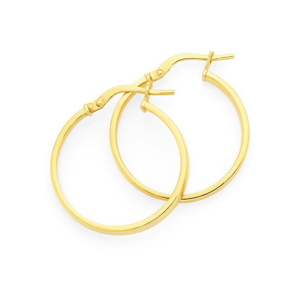 9ct Gold on Silver 2.5x20mm Square Tube Hoop Earrings