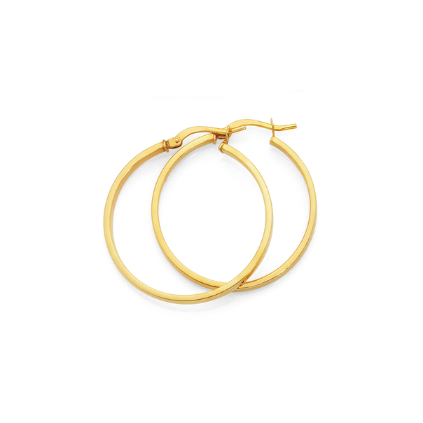 9ct Gold on Silver 2.5x25mm Square Hoop Earrings