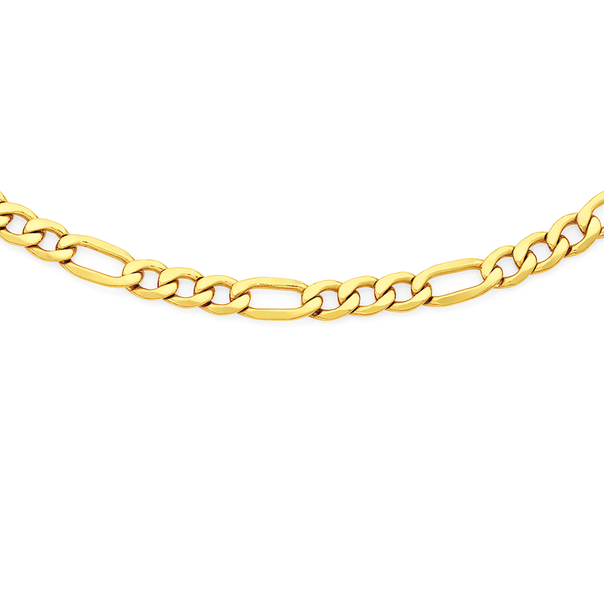 9ct Gold on Silver 50cm Figaro 3+1 Chain