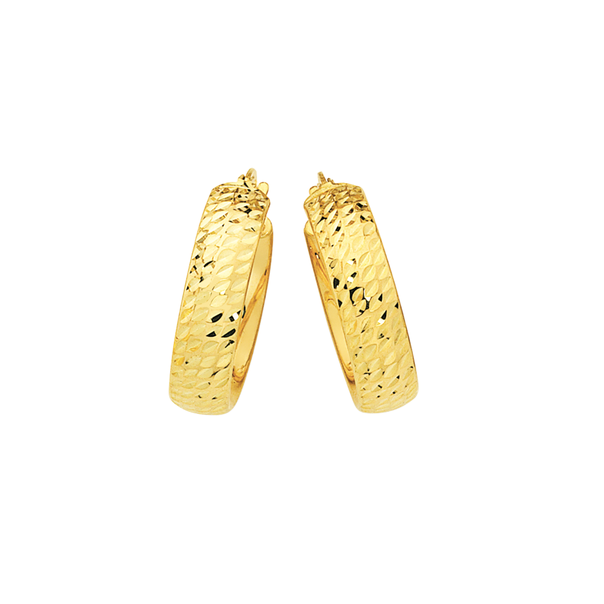 9ct Gold on Silver 5x15mm Diamond-cut Hoop Earrings