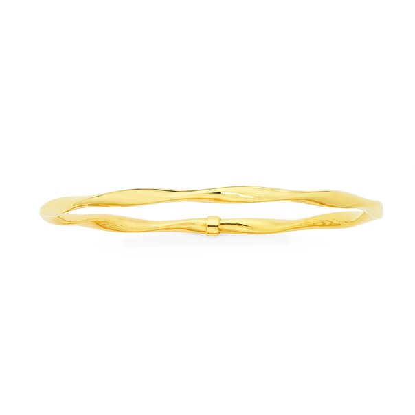 9ct Gold on Silver 65mm Twist Bangle