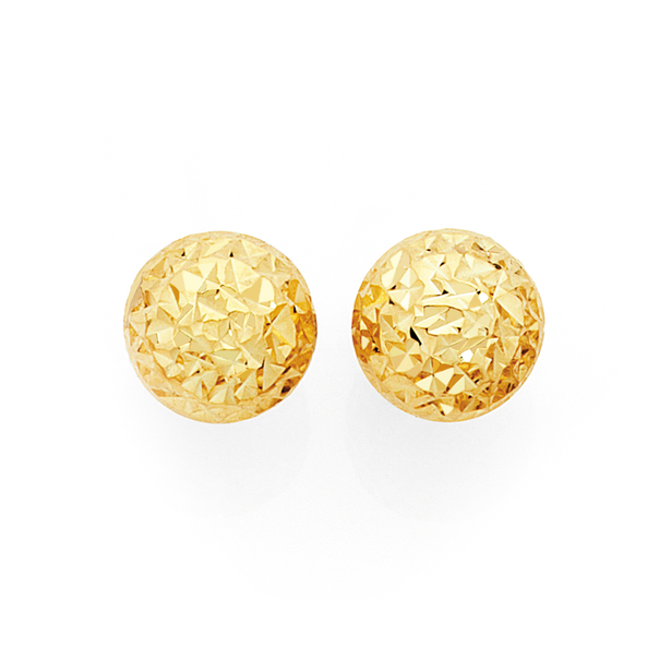 9ct Gold on Silver 7mm Ball Stud Earrings