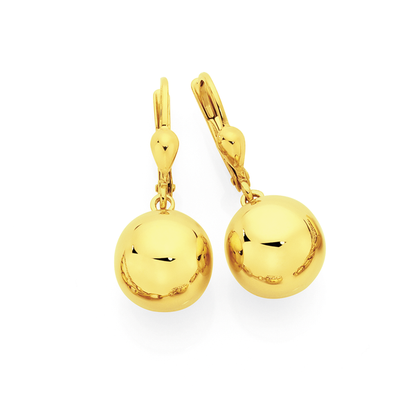 9ct Gold on Silver Ball Drop Earrings