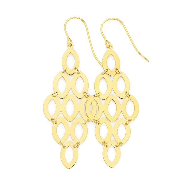 9ct Gold on Silver Chandelier Hook Drop Earrings