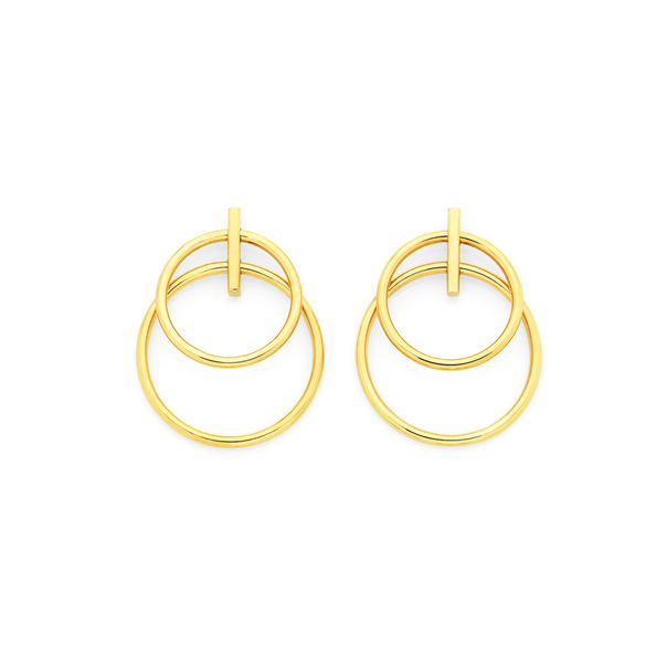 9ct Gold on Silver Circle Bar Stud Earrings