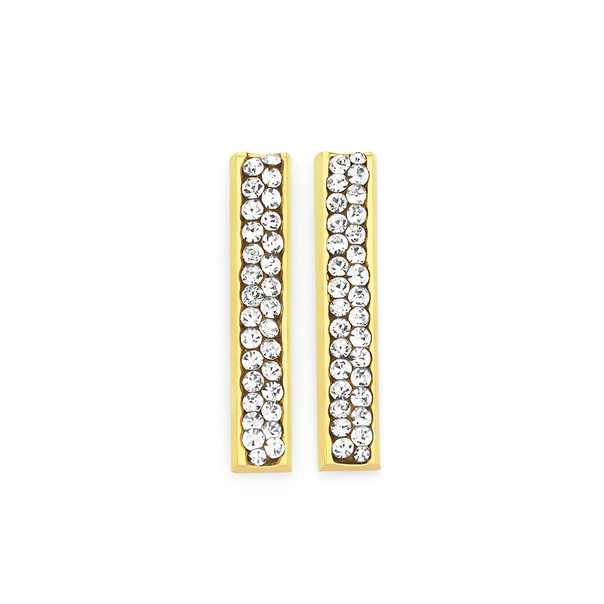 9ct Gold on Silver Crystal Bar Drop Stud Earrings