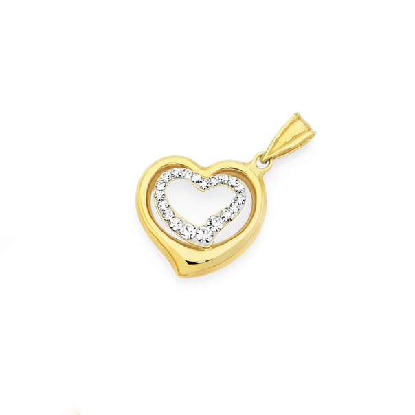 9ct Gold on Silver Crystal Double Open Heart Pendant