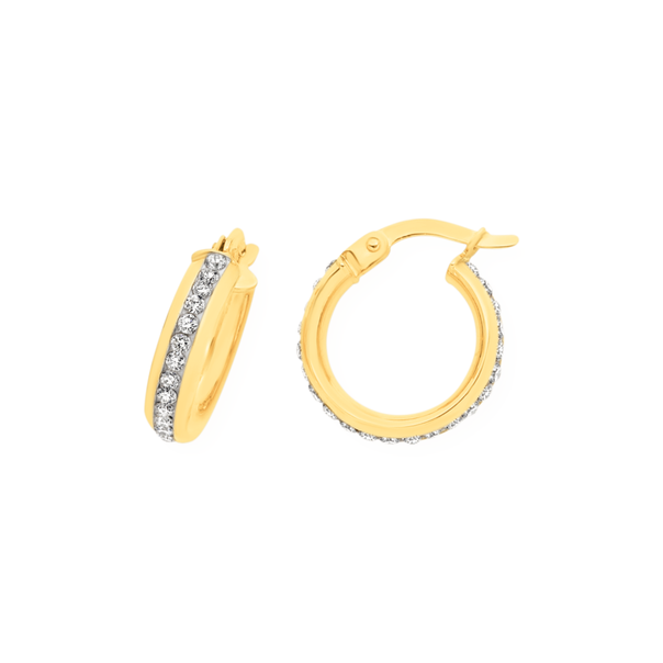 9ct Gold on Silver Crystal Double Side Small Hoop Earrings