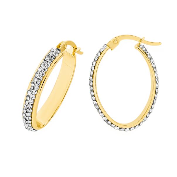 9ct Gold on Silver Crystal Hoop Earrings