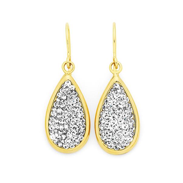9ct Gold on Silver Crystal Teardrop Hook Earrings