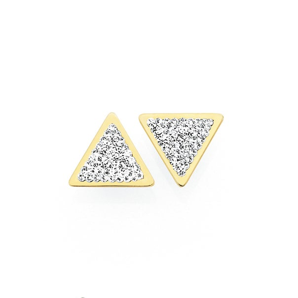 9ct Gold on Silver Crystal Triangle Stud Earrings