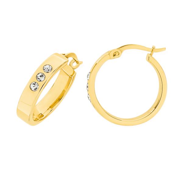 9ct Gold on Silver Cubic Zirconia Hoop Earrings