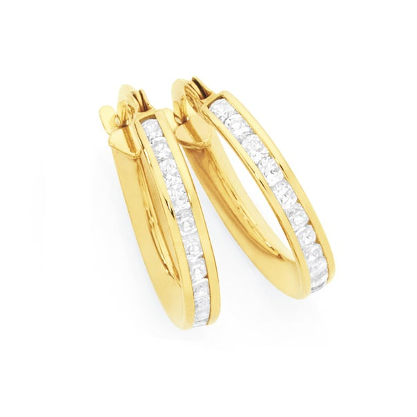 9ct Gold on Silver Cubic Zirconia Round Brilliant Cut Channel Set Hoop Earrings