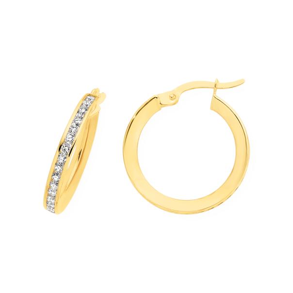 9ct Gold on Silver CZ 14mm Hoop Earrings