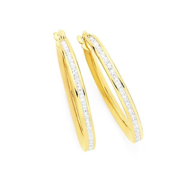 9ct Gold on Silver CZ Channel Set 2x19mm Hoop Earrings