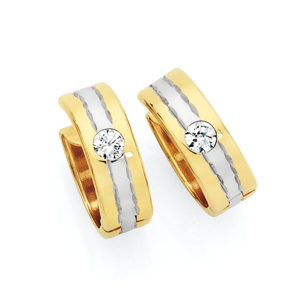 9ct Gold on Silver CZ Huggies