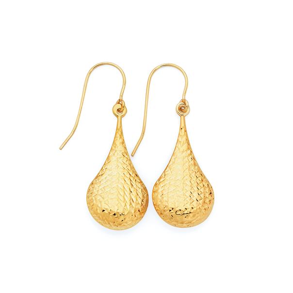 9ct Gold on Silver Diamond-cut Pear Drop Earrings
