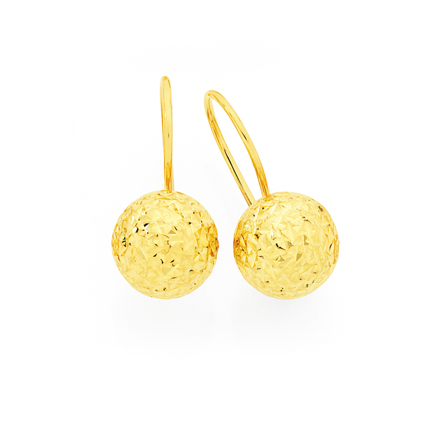 9ct Gold on Silver Euroball Earrings