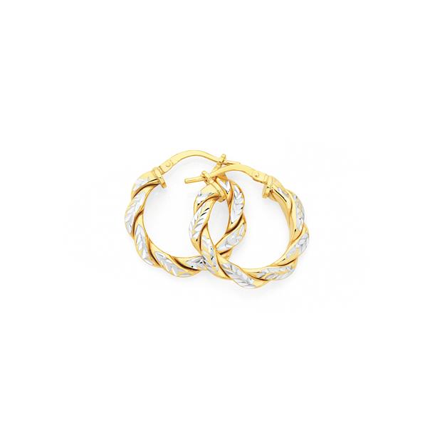 9ct Gold on Silver Two Tone 3x15mm Entwined Twist Hoop Earrings
