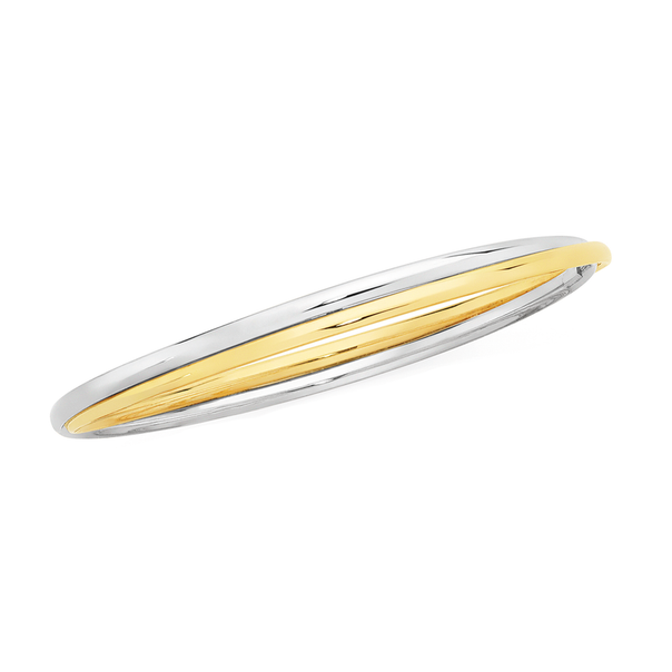 9ct Gold on Silver Two Tone Hollow Double Bangle