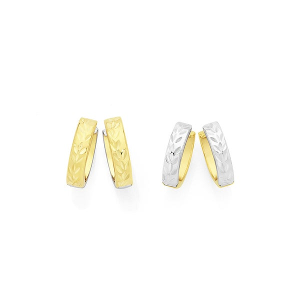 9ct Gold on Silver Two Tone Reversible Huggie Earrings