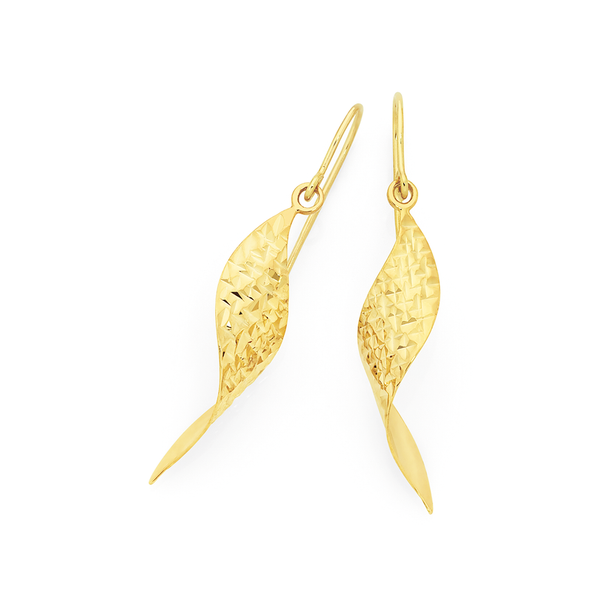 9ct Gold on Silver Wave Pointed Drop Earrings