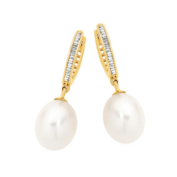 9ct Gold Pearl & Diamond Hoop Drop Earrings