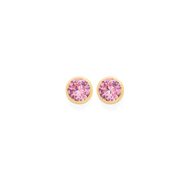 9ct Gold Pink Cubic Zirconia Stud Earrings