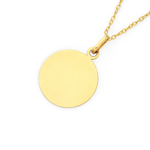 9ct Gold Round Engravable Disc Pendant