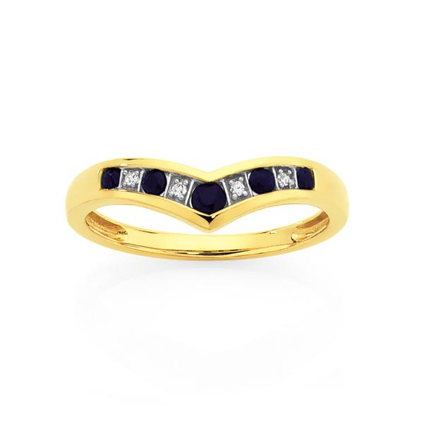 9ct Gold Sapphire & Diamond Round Brilliant Cut V Ring