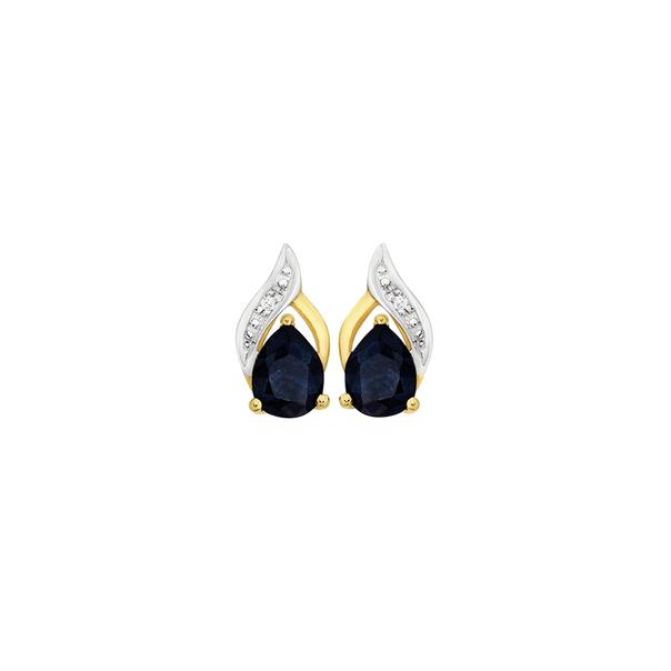 9ct Gold Sapphire & Diamond Stud Earrings