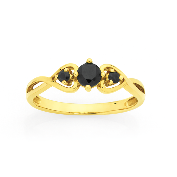 9ct Gold Sapphire Trilogy Heart Ring