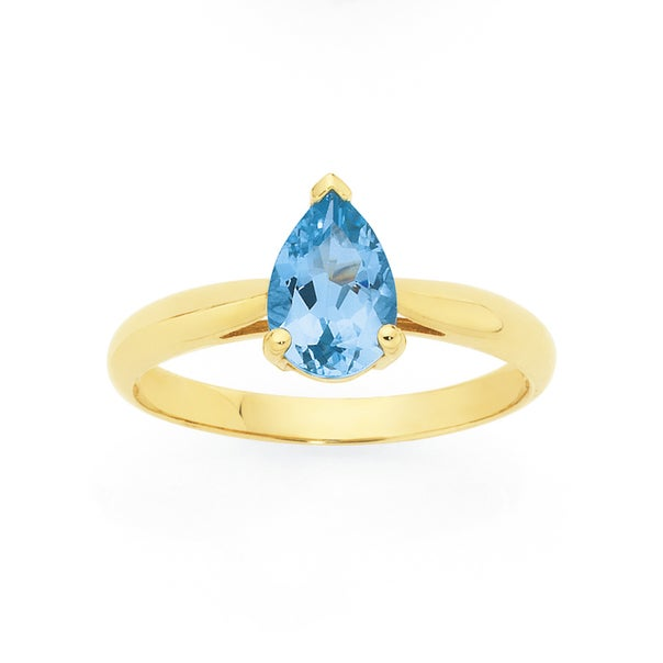9ct Gold Sky Blue Topaz Pear Ring